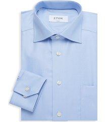 eton men's classic-fit patch pocket dress shirt - blue - size 16.5