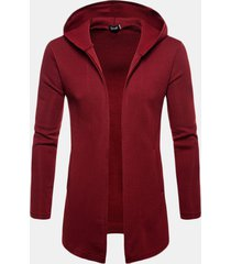 mens brief casual mid long hooded pure colour long sleeve cardigan fashion open con cappuccio