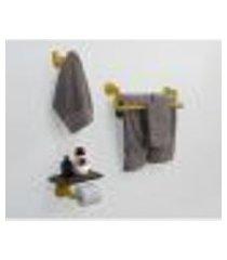 kit acessórios para banheiro conjunto 3 peças porta toalhas papel cabideiro estilo industrial amarelo laca