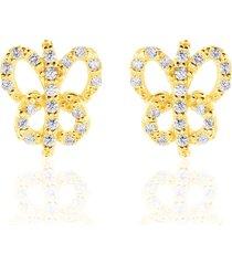 orecchini a lobo farfalla in oro giallo e zirconi per donna