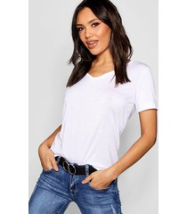 basic superzacht t-shirt met v-hals, wit