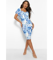 bardot floral puff sleeve midi dress, blue