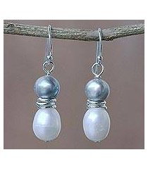 cultured pearl dangle earrings, 'luxurious grey glam' (thailand)