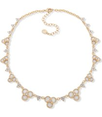 "anne klein gold-tone pave & mother-of-pearl flower collar necklace, 16"" + 3"" extender"
