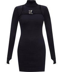 'hooked' rib-knit dress