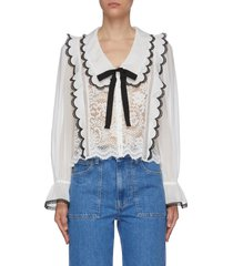 bow detail ruffled cord lace blouse
