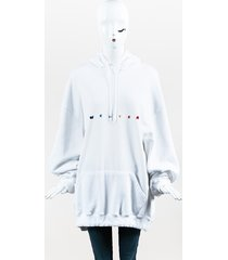 white multicolor lurex rainbow embroidered oversize hoodie