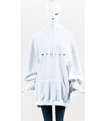 vetements white multicolor lurex rainbow embroidered oversize hoodie white sz: xs