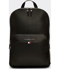 tommy hilfiger men's classic leather backpack black -
