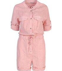 summum 4s1956-11203 514 jumpsuit short flowy linen tencel powder pink rood