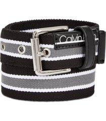 calvin klein big boys striped flat-strap belt