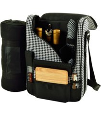 picnic at ascot bordeaux insulated wine, cheese tote with blanket-glass glasses