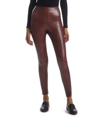 women's commando reptile embossed faux leather leggings, size x-large - brown