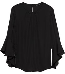 blusa flutter sleeve top solids negro banana republic