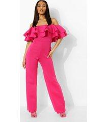 wide leg scuba jumpsuit met ruches en uitgesneden hals, hot pink