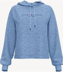 tommy hilfiger women's essential logo hoodie blue heather - xxl