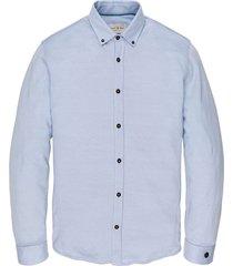 long sleeve shirt jersey jacquard chambray blue