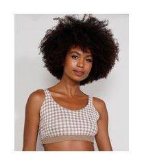 top cropped de tricô feminino mindset estampado xadrez vichy alça média decote redondo off white