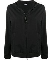 brunello cucinelli classic zipped hoodie - black