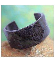 leather cuff bracelet, 'wend konta in plum' (ghana)