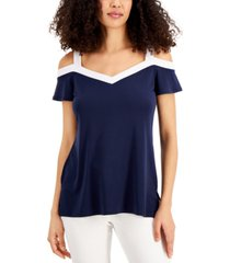 jm collection contrast-trim cold-shoulder top, created for macy's