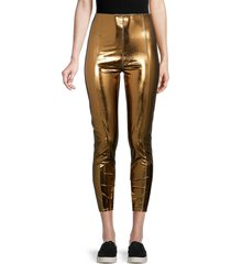 lisa marie fernandez women's karlie metallic leggings - bronze - size xxs