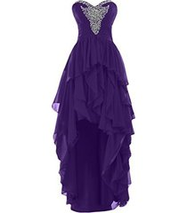 blevla high low chiffon prom party dress evening party gown purple us 26 plus