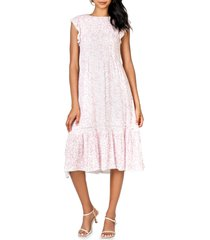 women's lost + wander let's go to paris floral cap sleeve dress, size x-small - pink