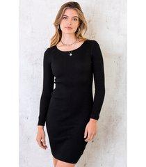 stretch jurk ribstof zwart