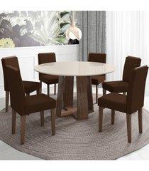 mesa de jantar 6 lugares isabela amanda 100% mdf castanho/off white/preto - new ceval