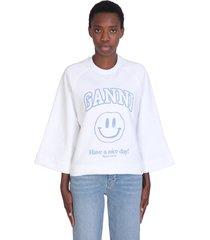 ganni isoli sweatshirt in white cotton