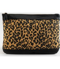 women's carissa mixed media canvas pouch in black/white by francesca's - size: one size