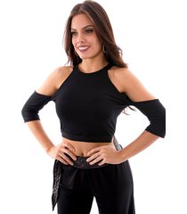 blusa cropped up side wear vazado preto