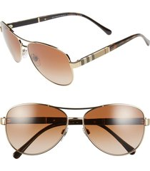 burberry 59mm aviator sunglasses in matte gold at nordstrom