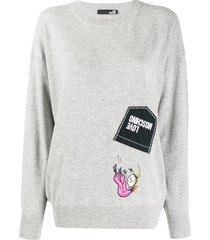 love moschino logo patchwork sweater - grey
