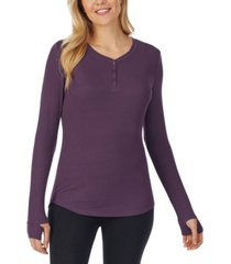 cuddl duds softwear with stretch ribbed long-sleeve henley top