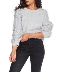 1.state fringe sleeve sweater, size xx-large in silver heather at nordstrom