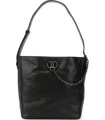 dkny bolsa tiracolo com logo e corrente - preto