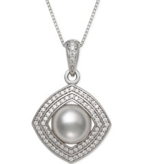 """cultured freshwater pearl (8mm) & cubic zirconia 18"""" pendant necklace in sterling silver"""