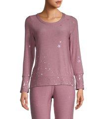 chaser women's star & paint splatter sweatshirt - glam - size xl