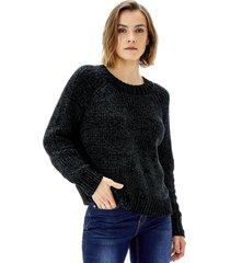 sweater crop chenille mujer negro corona