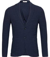 structured blazer blazer colbert blauw knowledge cotton apparel