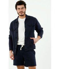 chaqueta trucker de hombre, cuello clásico, manga larga, color azul