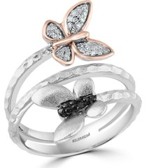 effy white & black diamond butterfly wrap ring (1/8 ct. t.w.) in sterling silver & 14k rose gold-plate