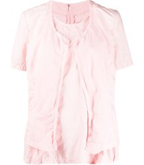 comme des garçons layered style distressed effect blouse - pink