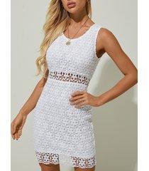 yoins white lace hollow design con forro mini vestido