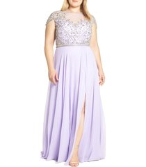 plus size women's mac duggal embellished bodice a-line gown