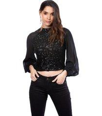 blusa para mujer con lentejuelas manga larga en chifón