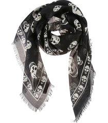 alexander mcqueen fo skull print fringed edge scarf