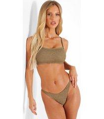 gekreukelde bikini top met vierkante hals en vollere cups, light khaki